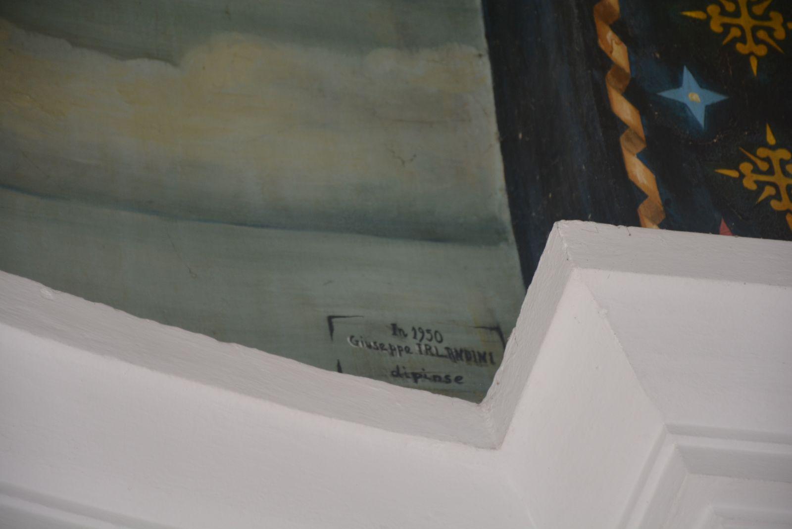 Assinatura do artista italiano no afresco de Assunção de Nossa Senhora