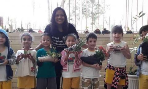 Pé de Flor encanta na frente de escola infantil em Colatina